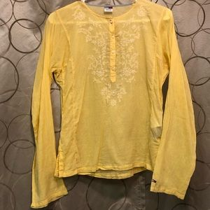 Girls Tommy Embroidered Flower Yellow Top